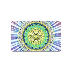 Power Mandala Sun Blue Green Yellow Lilac Magnet (name Card) by EDDArt