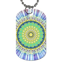 Power Mandala Sun Blue Green Yellow Lilac Dog Tag (one Side) by EDDArt