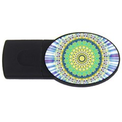 Power Mandala Sun Blue Green Yellow Lilac Usb Flash Drive Oval (2 Gb) by EDDArt