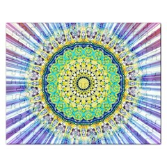 Power Mandala Sun Blue Green Yellow Lilac Rectangular Jigsaw Puzzl by EDDArt