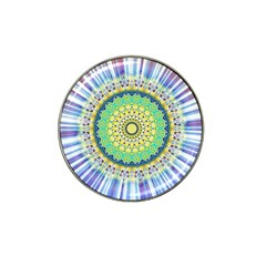 Power Mandala Sun Blue Green Yellow Lilac Hat Clip Ball Marker (4 Pack) by EDDArt