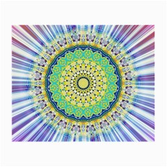 Power Mandala Sun Blue Green Yellow Lilac Small Glasses Cloth by EDDArt