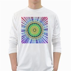 Power Mandala Sun Blue Green Yellow Lilac White Long Sleeve T Shirts by EDDArt