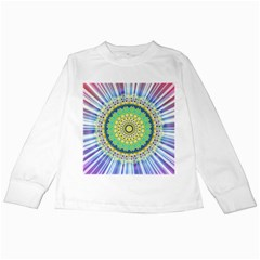 Power Mandala Sun Blue Green Yellow Lilac Kids Long Sleeve T Shirts by EDDArt