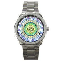 Power Mandala Sun Blue Green Yellow Lilac Sport Metal Watch by EDDArt