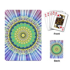 Power Mandala Sun Blue Green Yellow Lilac Playing Card by EDDArt