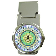 Power Mandala Sun Blue Green Yellow Lilac Money Clip Watches by EDDArt