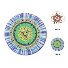 Power Mandala Sun Blue Green Yellow Lilac Playing Cards (round)  by EDDArt