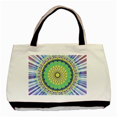 Power Mandala Sun Blue Green Yellow Lilac Basic Tote Bag by EDDArt