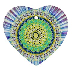 Power Mandala Sun Blue Green Yellow Lilac Heart Ornament (two Sides) by EDDArt