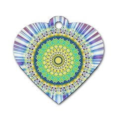 Power Mandala Sun Blue Green Yellow Lilac Dog Tag Heart (two Sides) by EDDArt