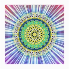 Power Mandala Sun Blue Green Yellow Lilac Medium Glasses Cloth by EDDArt