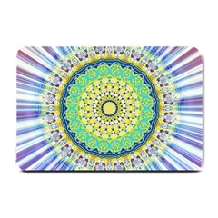 Power Mandala Sun Blue Green Yellow Lilac Small Doormat  by EDDArt