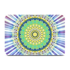 Power Mandala Sun Blue Green Yellow Lilac Plate Mats by EDDArt