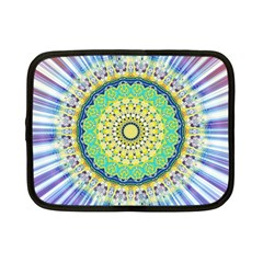 Power Mandala Sun Blue Green Yellow Lilac Netbook Case (small)  by EDDArt