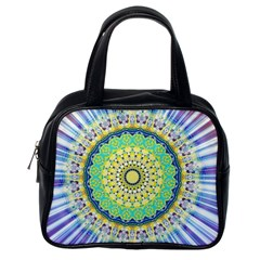 Power Mandala Sun Blue Green Yellow Lilac Classic Handbags (one Side) by EDDArt