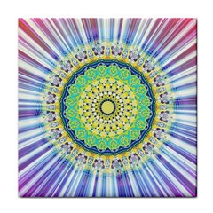 Power Mandala Sun Blue Green Yellow Lilac Face Towel by EDDArt