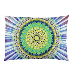Power Mandala Sun Blue Green Yellow Lilac Pillow Case by EDDArt