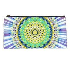 Power Mandala Sun Blue Green Yellow Lilac Pencil Cases by EDDArt