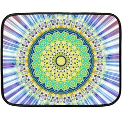 Power Mandala Sun Blue Green Yellow Lilac Double Sided Fleece Blanket (mini)  by EDDArt