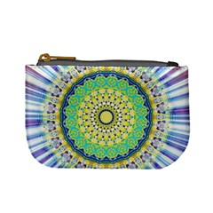 Power Mandala Sun Blue Green Yellow Lilac Mini Coin Purses by EDDArt