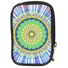 Power Mandala Sun Blue Green Yellow Lilac Compact Camera Cases by EDDArt