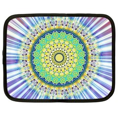 Power Mandala Sun Blue Green Yellow Lilac Netbook Case (xl)  by EDDArt
