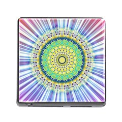 Power Mandala Sun Blue Green Yellow Lilac Memory Card Reader (square 5 Slot) by EDDArt