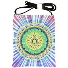 Power Mandala Sun Blue Green Yellow Lilac Shoulder Sling Bags by EDDArt