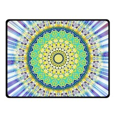 Power Mandala Sun Blue Green Yellow Lilac Fleece Blanket (small) by EDDArt