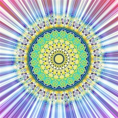 Power Mandala Sun Blue Green Yellow Lilac Magic Photo Cube by EDDArt