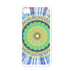 Power Mandala Sun Blue Green Yellow Lilac Apple Iphone 4 Case (white) by EDDArt
