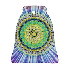 Power Mandala Sun Blue Green Yellow Lilac Ornament (bell) by EDDArt