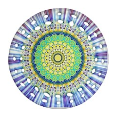 Power Mandala Sun Blue Green Yellow Lilac Round Filigree Ornament (two Sides) by EDDArt