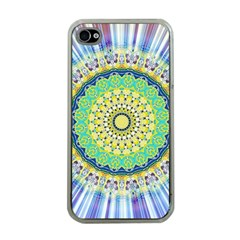 Power Mandala Sun Blue Green Yellow Lilac Apple Iphone 4 Case (clear) by EDDArt