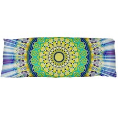 Power Mandala Sun Blue Green Yellow Lilac Body Pillow Case (dakimakura) by EDDArt