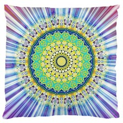 Power Mandala Sun Blue Green Yellow Lilac Large Cushion Case (two Sides) by EDDArt