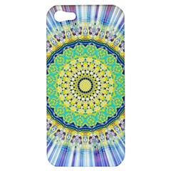Power Mandala Sun Blue Green Yellow Lilac Apple Iphone 5 Hardshell Case by EDDArt