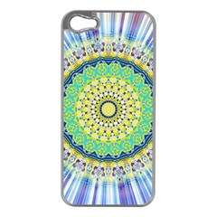 Power Mandala Sun Blue Green Yellow Lilac Apple Iphone 5 Case (silver) by EDDArt