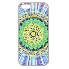 Power Mandala Sun Blue Green Yellow Lilac Apple Seamless Iphone 5 Case (clear) by EDDArt