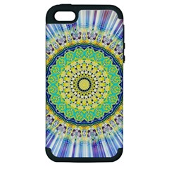 Power Mandala Sun Blue Green Yellow Lilac Apple Iphone 5 Hardshell Case (pc+silicone) by EDDArt