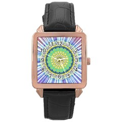Power Mandala Sun Blue Green Yellow Lilac Rose Gold Leather Watch  by EDDArt