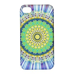 Power Mandala Sun Blue Green Yellow Lilac Apple Iphone 4/4s Hardshell Case With Stand by EDDArt