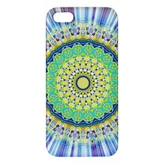 Power Mandala Sun Blue Green Yellow Lilac Apple Iphone 5 Premium Hardshell Case by EDDArt