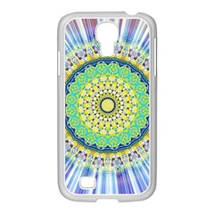 Power Mandala Sun Blue Green Yellow Lilac Samsung Galaxy S4 I9500/ I9505 Case (white) by EDDArt