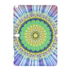 Power Mandala Sun Blue Green Yellow Lilac Samsung Galaxy Note 10 1 (p600) Hardshell Case by EDDArt