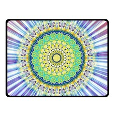 Power Mandala Sun Blue Green Yellow Lilac Double Sided Fleece Blanket (small)  by EDDArt
