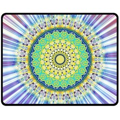 Power Mandala Sun Blue Green Yellow Lilac Double Sided Fleece Blanket (medium)  by EDDArt