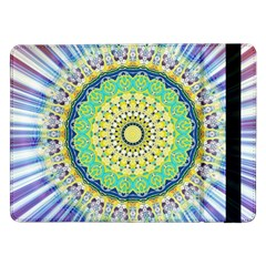 Power Mandala Sun Blue Green Yellow Lilac Samsung Galaxy Tab Pro 12 2  Flip Case by EDDArt