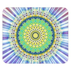 Power Mandala Sun Blue Green Yellow Lilac Double Sided Flano Blanket (small)  by EDDArt